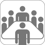 graphic of conference table with people standing around it