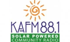 Rebecca Folsom in the KAFM Radio Room